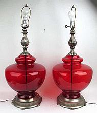 Pair Large Ruby Bohemian Glass Lamps