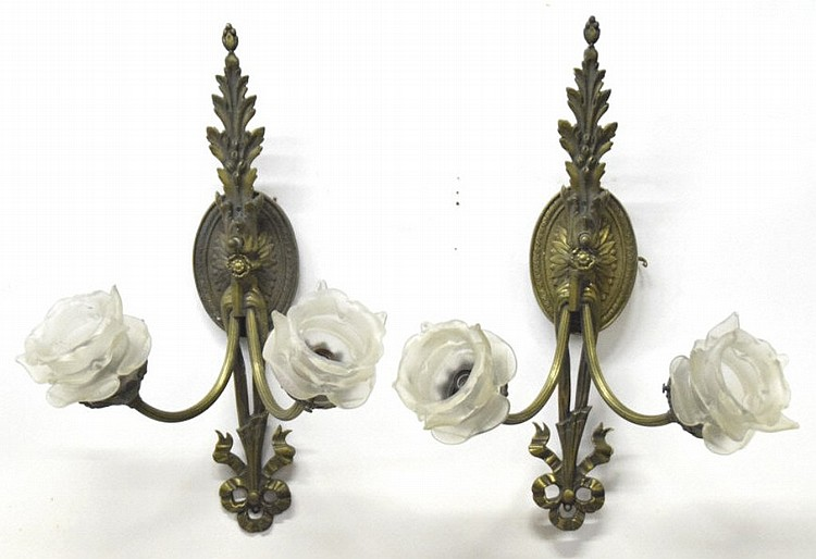 Pair Bronze Wall Sconces w/ Applied Glass Flowers