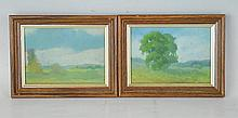 Two Oil on Paperboard Landscapes