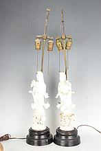 Pair Lamps with Chinese Porcelain Figure Sculpture