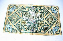 Asian Green Silk embroidered with Koi Fish Design