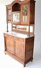 European Oak Marble Top Cabinet