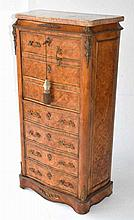 Marble Top Marquetry Tall Dresser