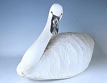 American Wood and Canvas Swan Decoy