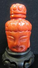 Qing Dynasty coral Buddha Head Snuff Bottle