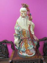 Massive Chinese Porcelain God Statue with Cane