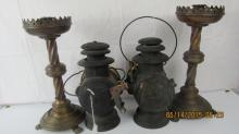 Pair Railroad Lanterns & Pair Brass Candle Holders