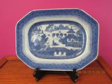 Asian arts Blue and White Canton Plate