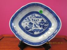 Asian Art Blue and White Canton Plate