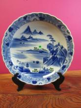 Asian arts Blue White and Green Plate