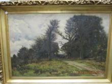 European Arts Painting of Carriage Entering Forest