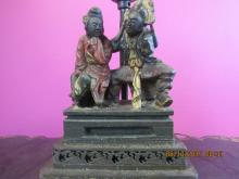 Asian Arts Chinese Iron Gold Two Figure Statue