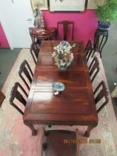Asian Arts Rosewood Dining Table Set with 8 Chairs