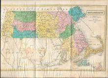 [Map] 1839 Hand-colored Map of Massachusetts
