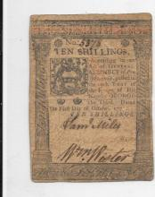 Colonial Currency, Pennsylvania, 10 Shillings October 1, 1776