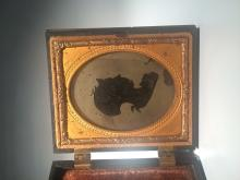 [Historical] 1850s Silhouette in Leather Photo Case