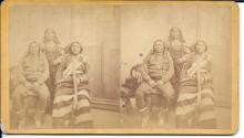 [Native American] Uncommon Kirkland Stereoview of Ute Indians, early yellow mount