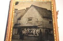 Rare quarter plate ambrotype of a butcher shop circa 1850s