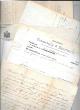 Collection of paper including Civil War, World War 2, Sheriff's Warrants