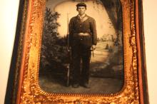 [Civil War] Quarter Plate Ambrotype of an Armed Solider