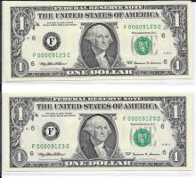 1999 Matching Serial Numbers Set of 2 $1.00 Notes