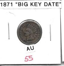 Small Cent 1871 Indian Head Big Key Date