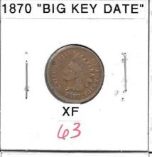 Small Cent 1870 Indian Head Cent Big Key Date XF