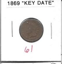 Small Cent 1869 Indian Head Cent Key Date