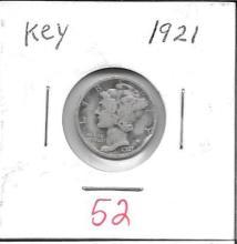 Lot of 3 1921 Mercury Dime Key Date