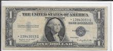 Currency Set of 2 1935 G Star Note $1 Silver Certificates With Motto and No Motto