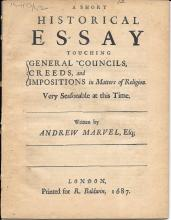 Historical Essay in Matters of Religion by Andrew Marvel, 1687