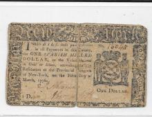 Colonial Currency, New York, $1.00, March 5, 1776