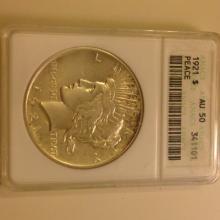 1921 Peace Dollar ANACS AU 50