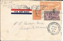 1938 airmail cover addressed to LL Bean