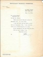 Letter signed by Will H. Hays, father of Motion Picture Censorship, 46th Postmaster General