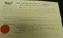 [Presidents] Signed Grover Cleveland Kansas Land Grant 1889