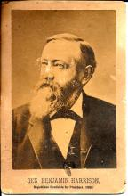 [Presidents] Benjamin Harrison Signature, Cabinet Card, Electoral Ticket