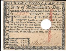 [Colonial Currency] Massachusetts $20 Colonial Currency