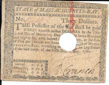 [Colonial Currency] 1780 Massachusetts Colonial Currency