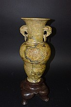 19th Century Chinese ShouShan stone flower vase