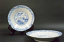 Pair blue & white landscape plates