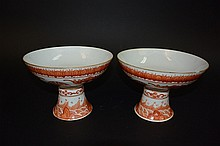 19th Century Pair of Chinese porcelain high plates