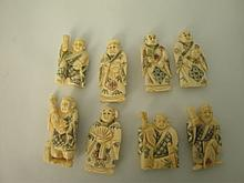Eight Pieces Carved Ivory figures
