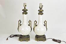 Pair porcelain oil lamps Blanc de China