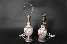 19th Century pair oil lamps