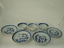Seven Blue & White cups and plates