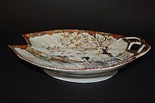 Fan-shaped Japanese Famille Rose Plate