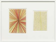 MARK GROTJAHN - Untitled (CR.CY and Cream Butterfly Blonde Butterfly Drawing in Two Parts), 2009