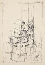ALBERTO GIACOMETTI - Vue de l'atelier de l'artiste, 1949
