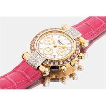 CHOPARD - A lady's fine yellow gold, diamond and pink diamond-set chronograph wristwatch with date, Circa 2000